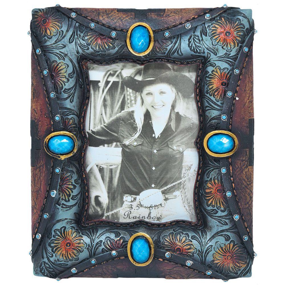 Porta Retrato Importado Marrom e Turquesa