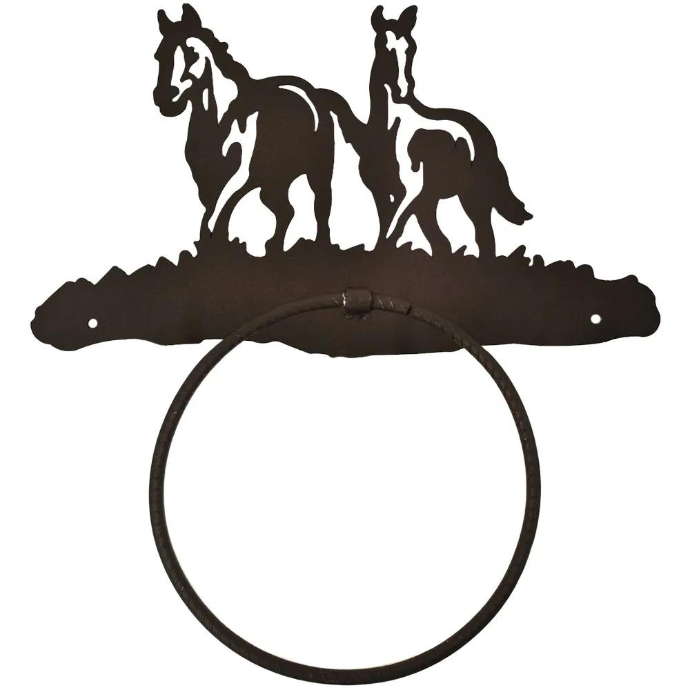 Porta Toalha de Metal Importado Com Argola 2 Cavalos