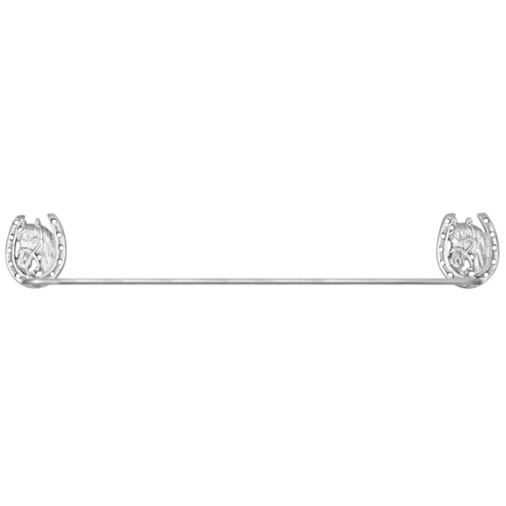 Porta Toalha de Metal Importado Prateado Cavalo e Ferradura