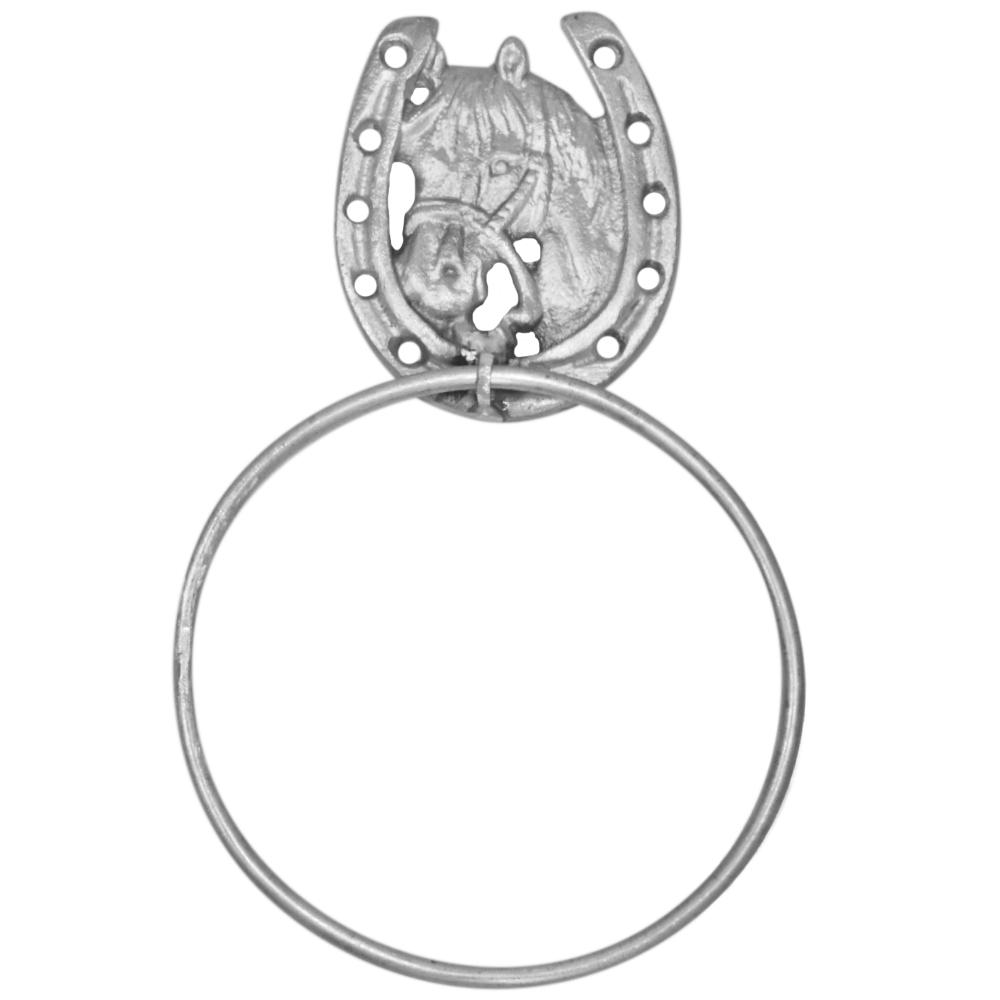 Porta Toalha de Metal Importado Prateado Com Argola Cavalo e Ferradura