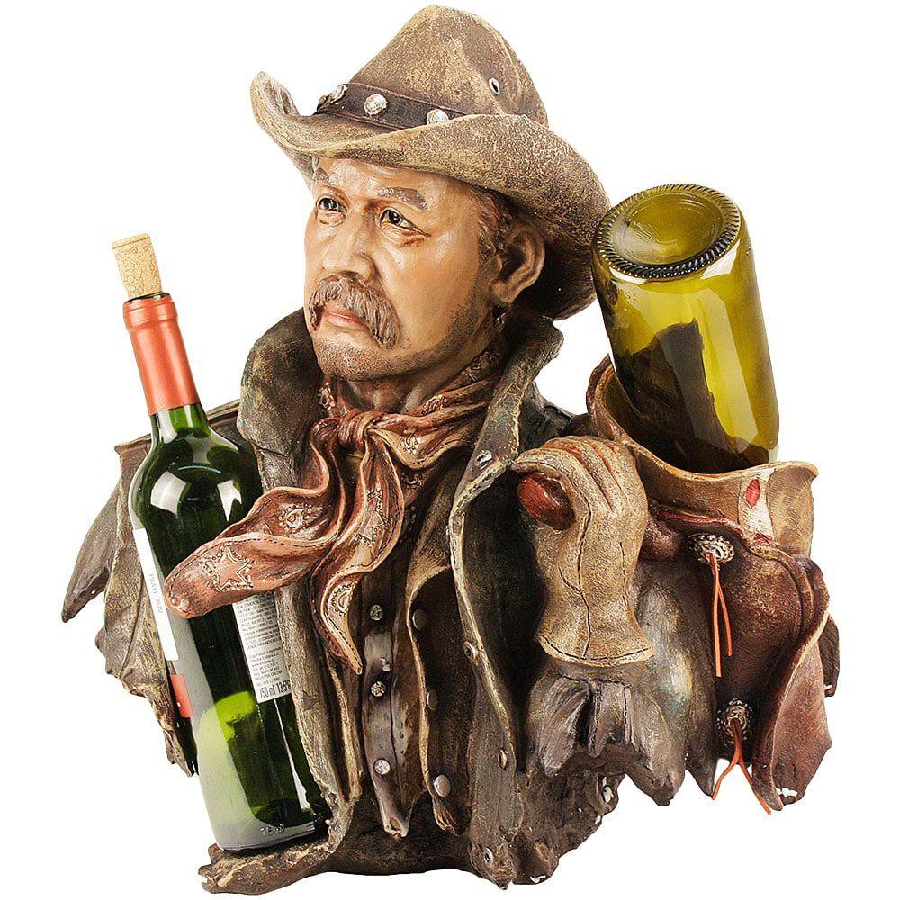 Porta Vinho Country Importado Estátua Perfeita Velho Cowboy
