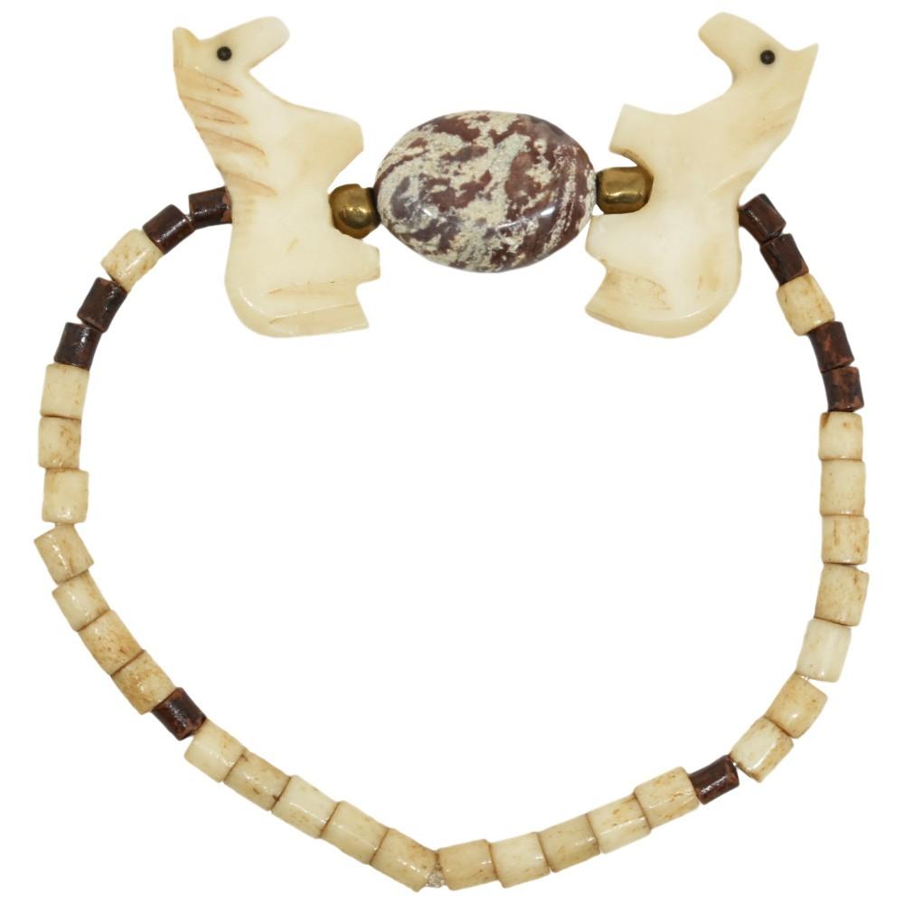 Pulseira Cowboys Pedras de Osso, Pedra Oval e Cavalinhos