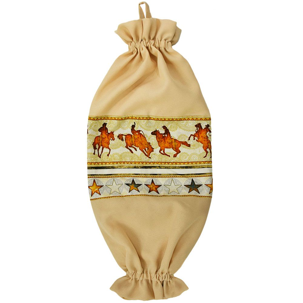 Puxa Saco Bege Estampa Cavalo e Laço