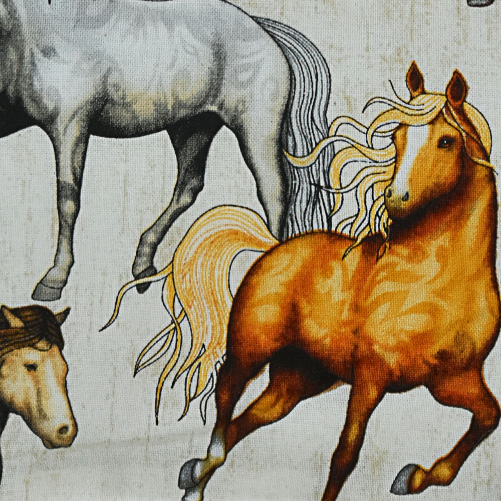 Puxa Saco Branco Estampa Bege com Cavalos