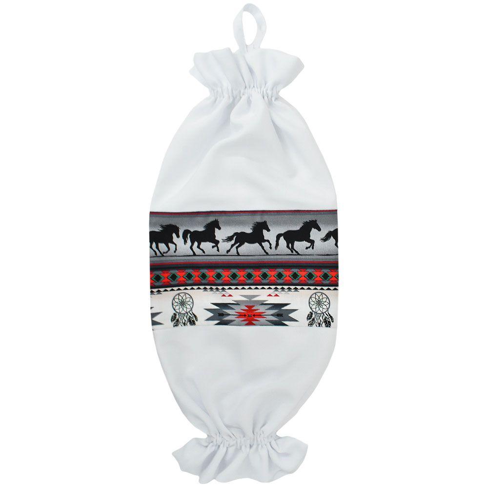 Puxa Saco Branco Estampa Cavalos Pretos Navajo