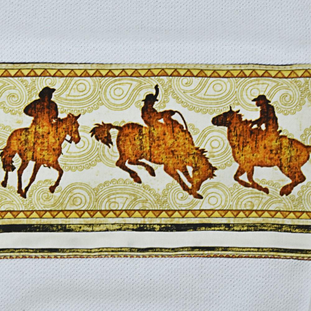Puxa Saco Branco Estampa Cowboys e Cavalos