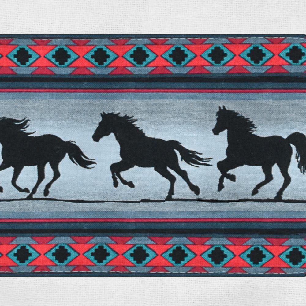 Puxa Saco Branco Estampa Navajo com Cavalos