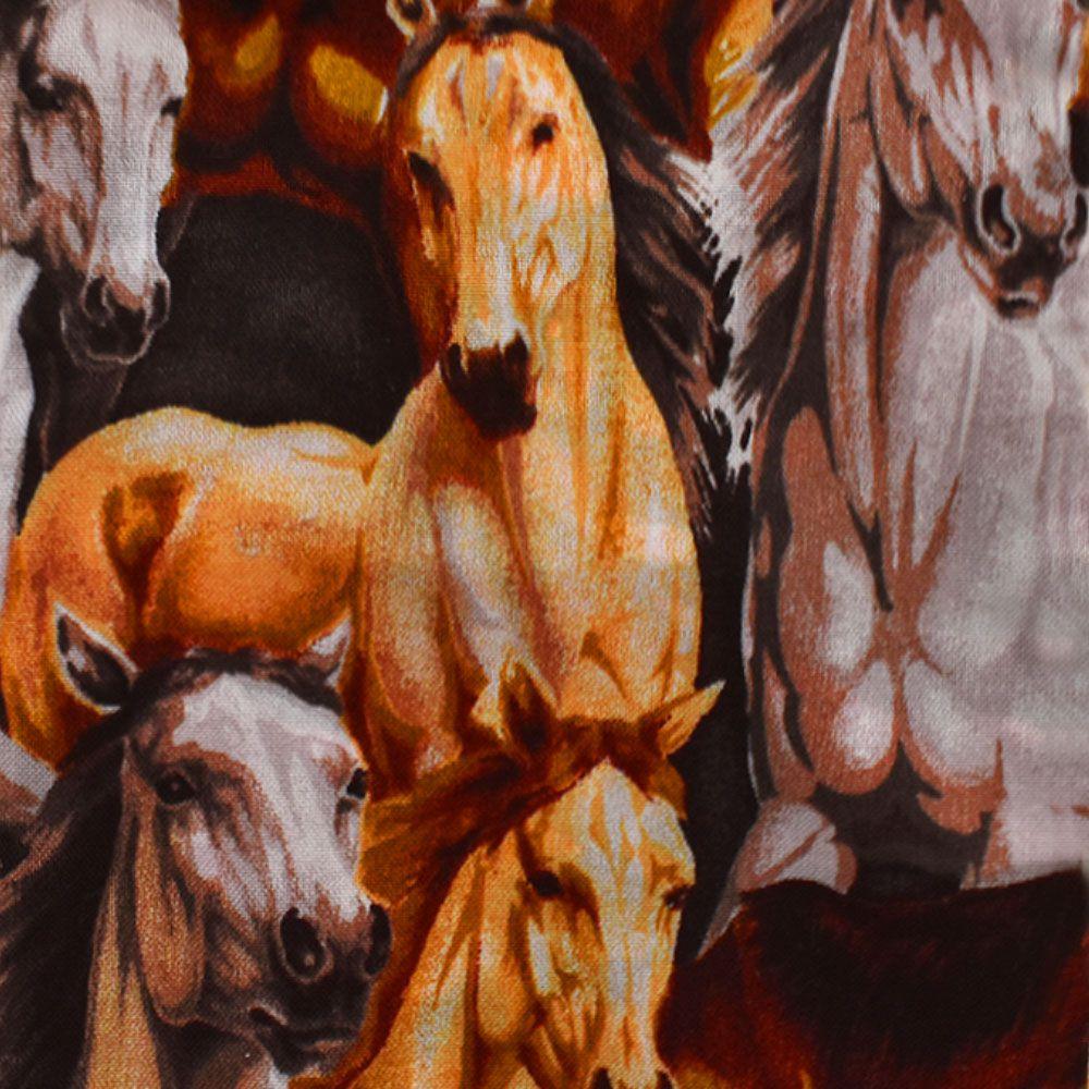 Puxa Saco Estampa Frontal de Cavalos