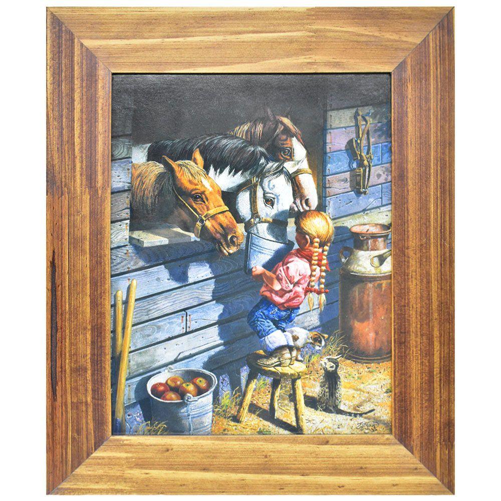 Quadro Pequena Cowgirl Alimentando Seu Cavalo