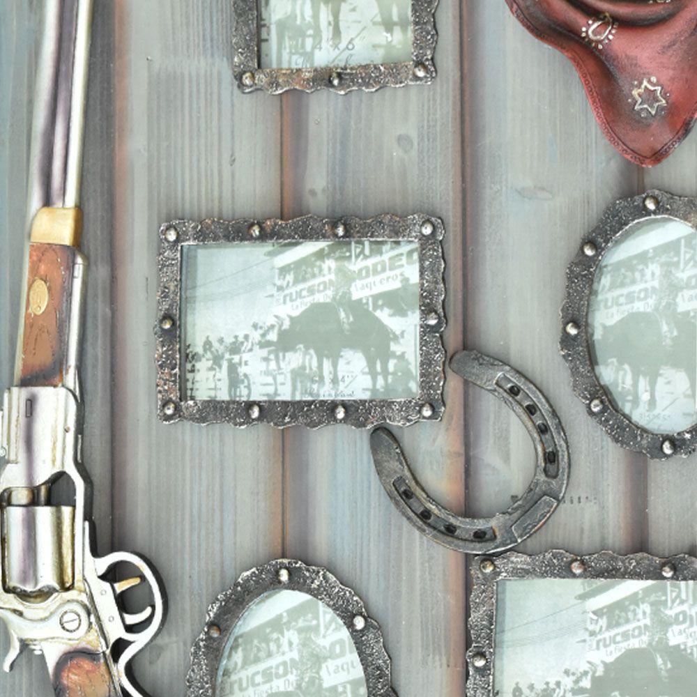 Quadro Porta Retrato Rústico Faroeste Espingarda Chapéu