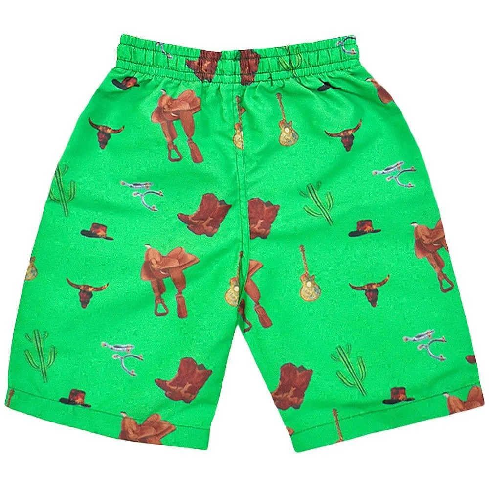 Short Verde Infantil Estampado Country