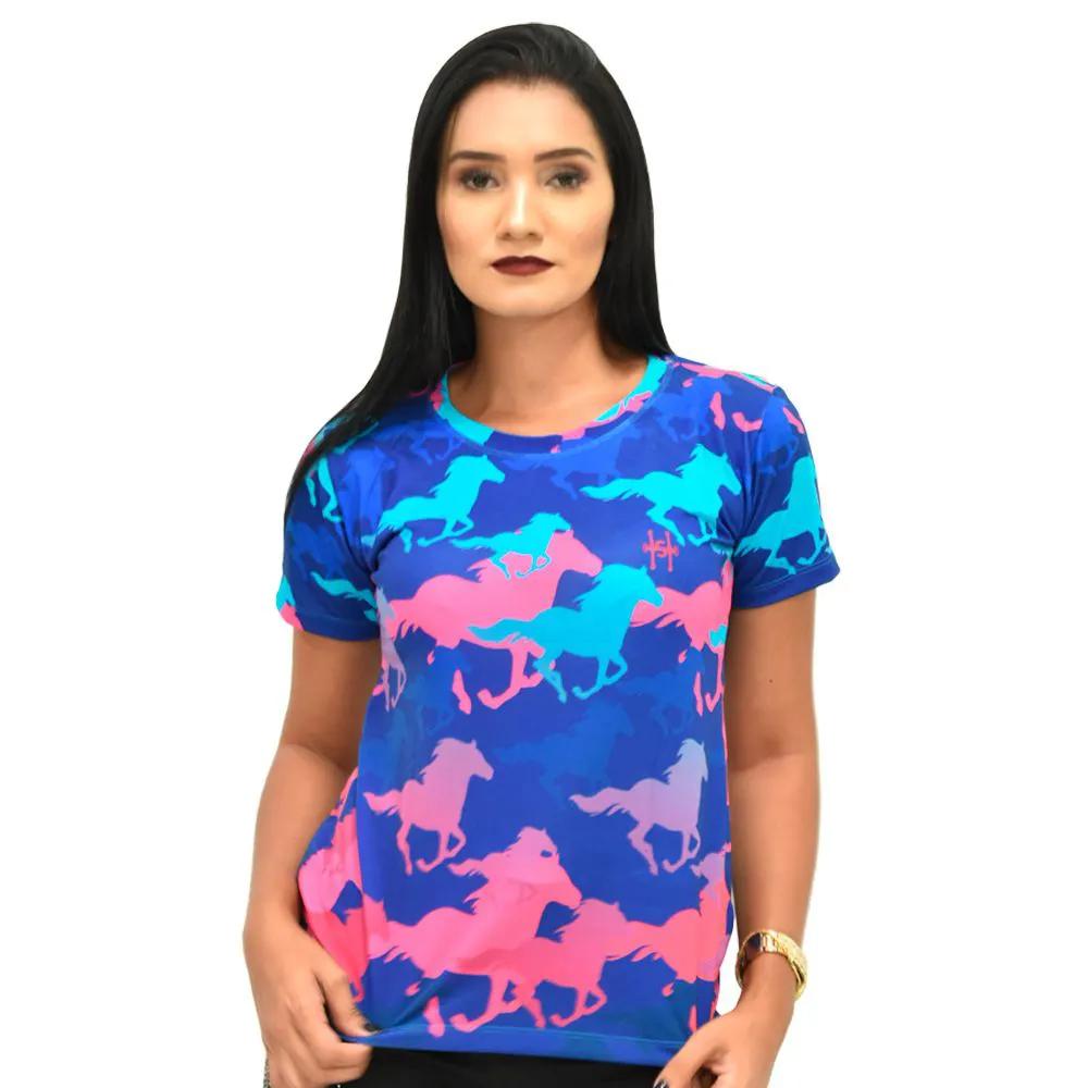 T-Shirt Heloisa Sá Azul Estampa Cavalos Azuis e Rosa