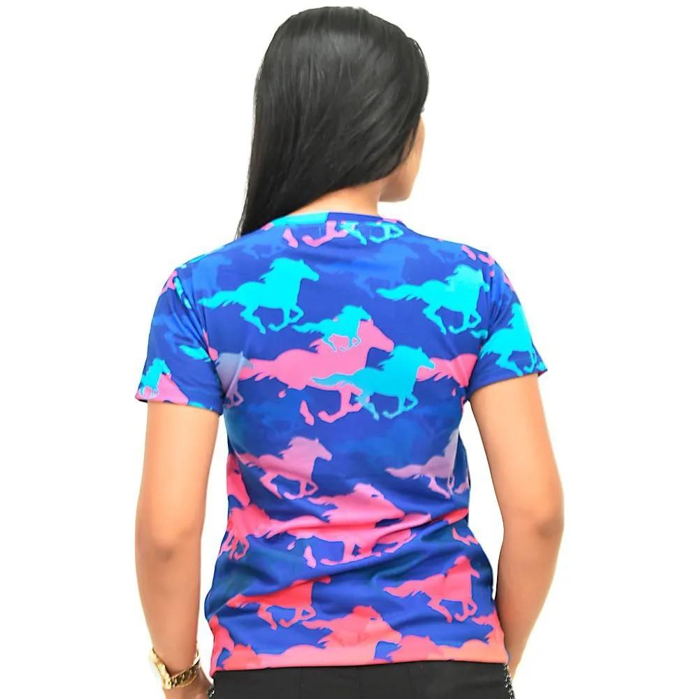 Blusinha Feminina Cowboys Azul Cavalos Coloridos Ashley