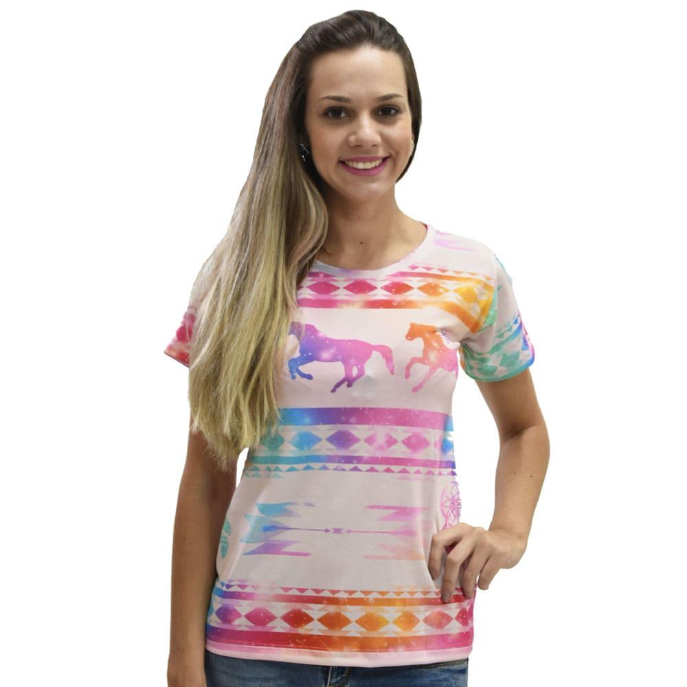 T-Shirt Heloisa Sá Estampa Cavalos Coloridos