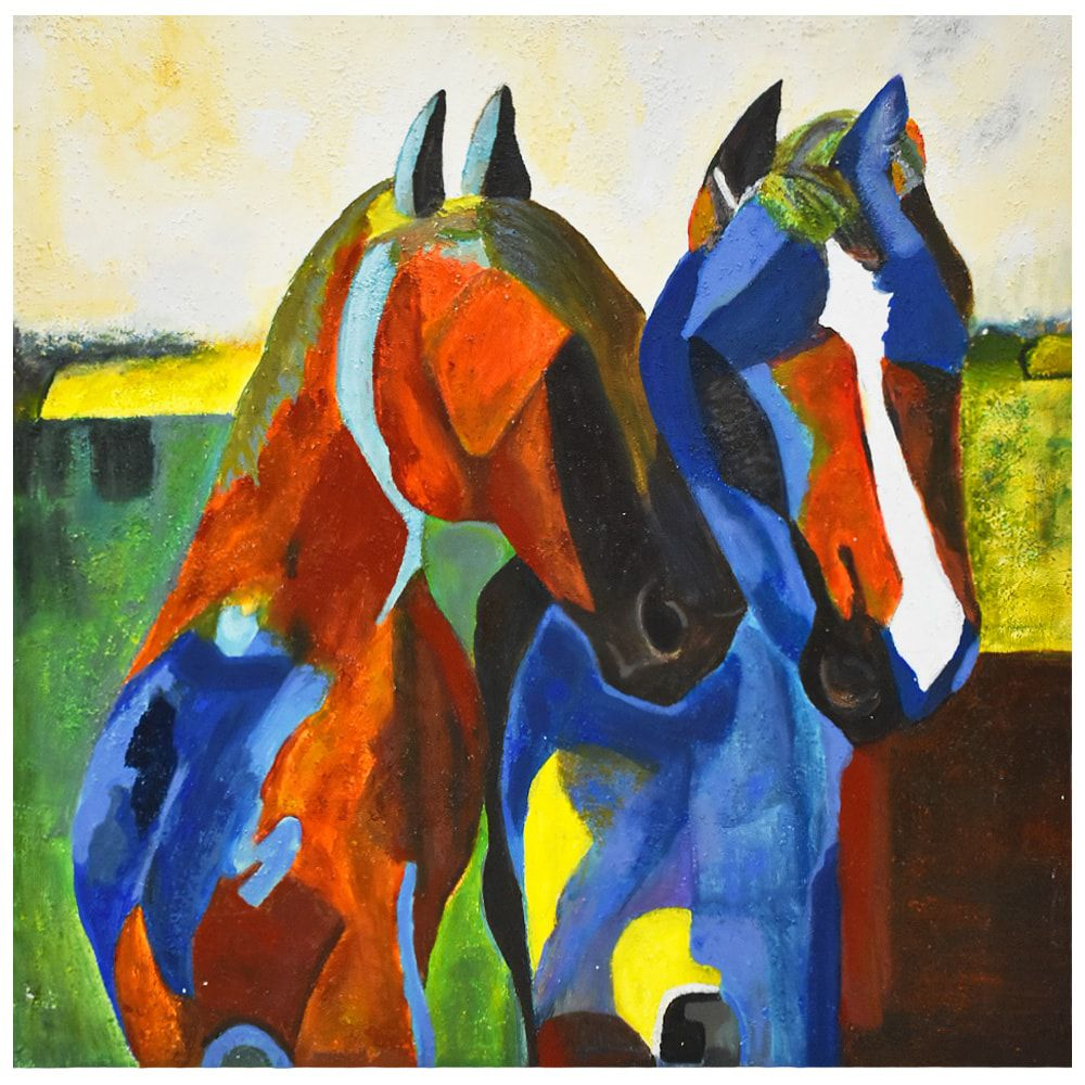 Tela Decorativa Cavalos Coloridos