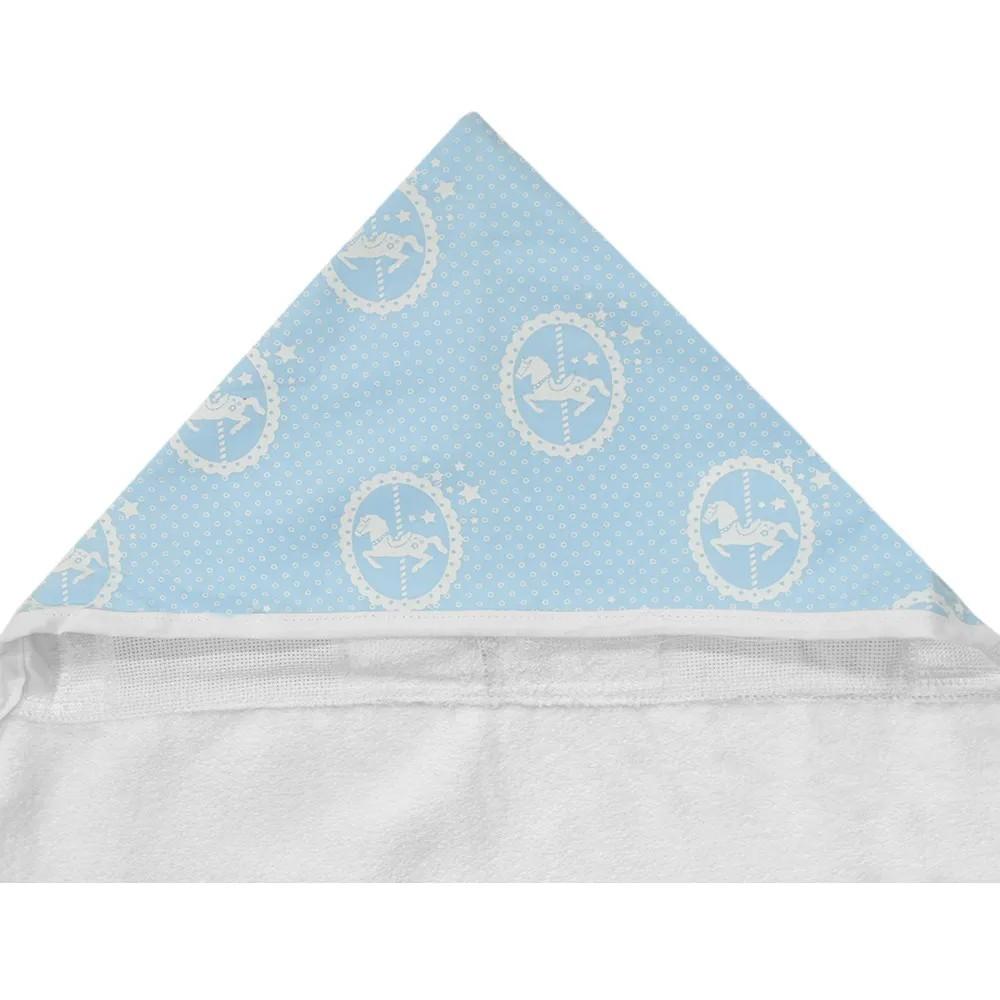Toalha de Banho Com Capuz Azul Carrossel de Cavalinhos