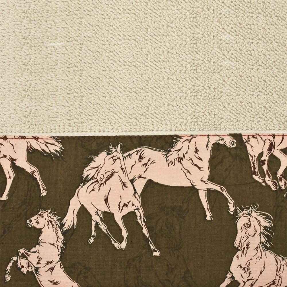 Toalha de Mão Cowboys Bege Cavalos Barrado Marrom