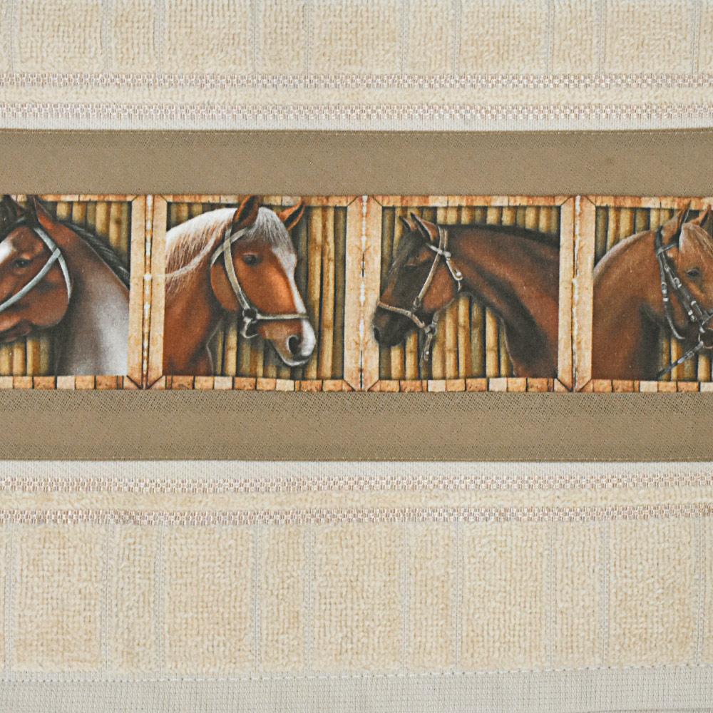 Toalha de Mãos Cowboys Bege com Cavalos e Baias