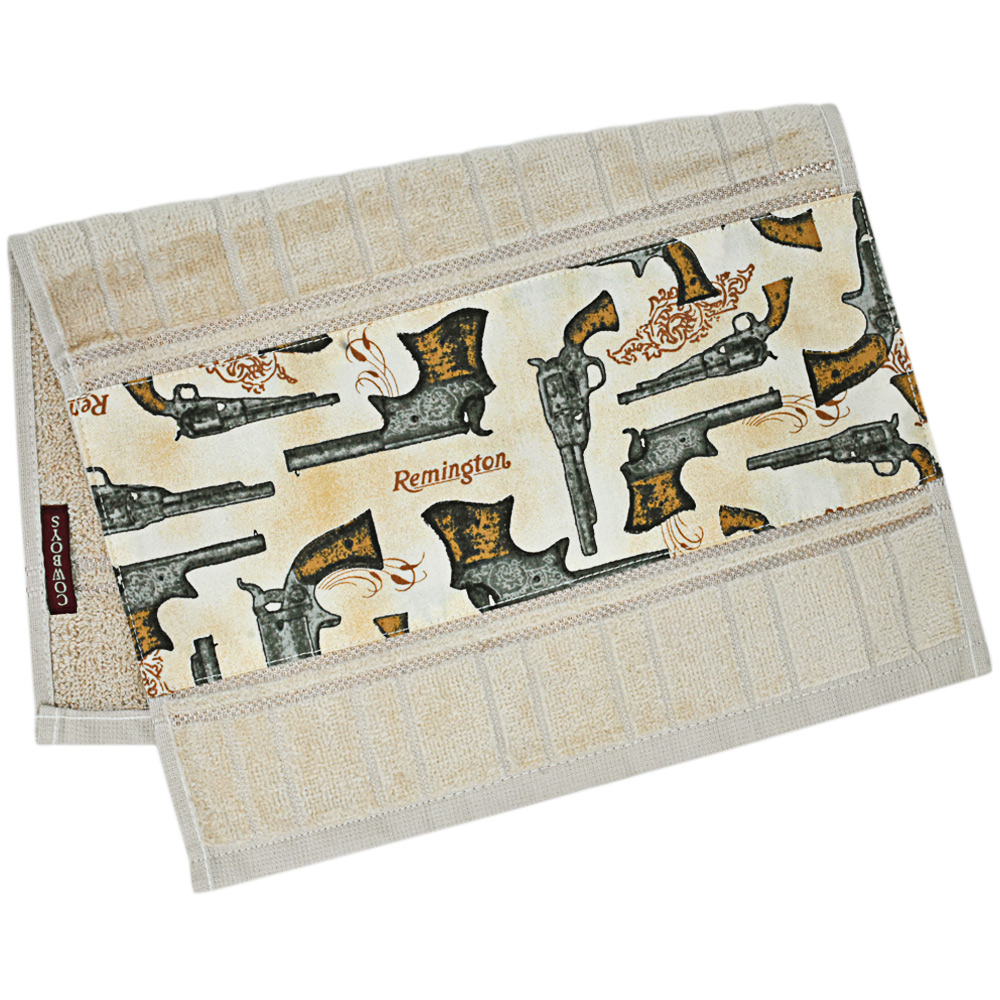 Toalha de Mãos Cowboys Bege com Revolveres Remington