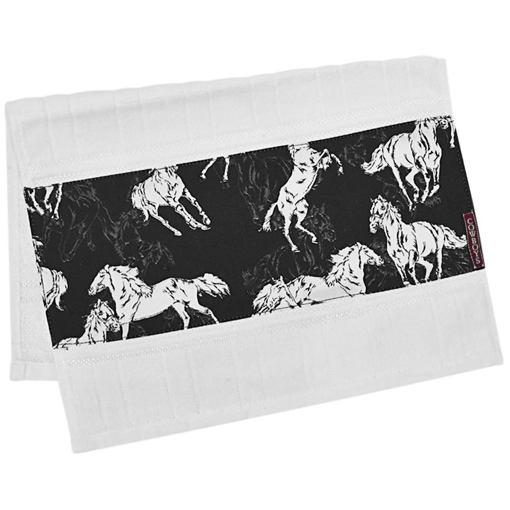 Toalha de Mãos Cowboys Branca com Cavalos