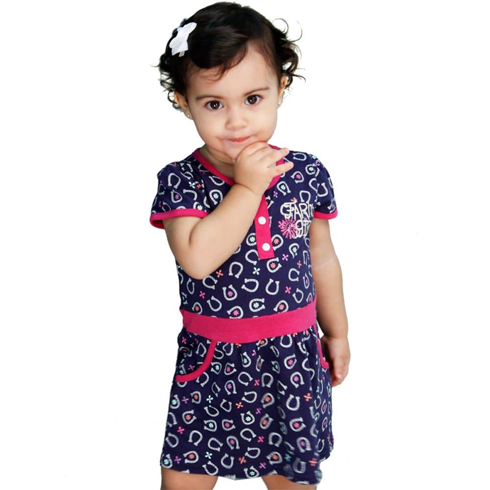 Vestido Bebê Azul Ferraduras Delicadas com Bolsos Rosa