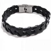 Bracelete De Couro Com Detalhe Transpassado