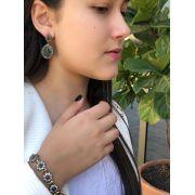 Pulseira em Prata Turca 925 Cravejado com Zircônias Brancas Rubelita e Jade