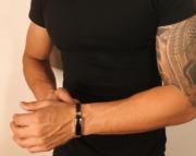 Bracelete Masculino Aço E Silicone Black