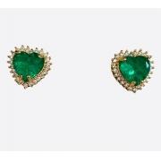 Brinco Coração Zircônia Verde Banho em Ouro 18k