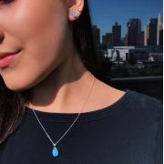 Conjunto Prata Opala Azul em Prata 925