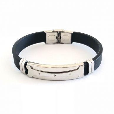 Bracelete De Aço Polido Com Simbolo E Silicone