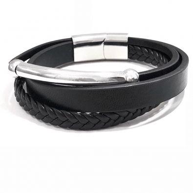 Bracelete Em Couro Pu Com Tiras Detalhe E Fecho Magnético Em Aço.