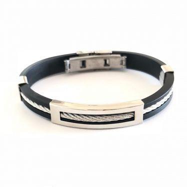 Bracelete Masculino Aço E Silicone