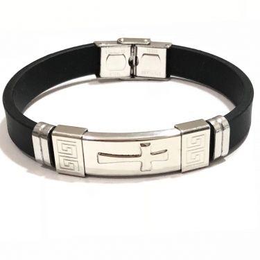 Bracelete Masculino Aço E Silicone Cruz