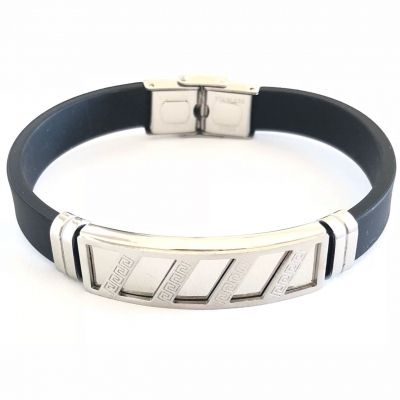 Bracelete Masculino De Aço E Silicone