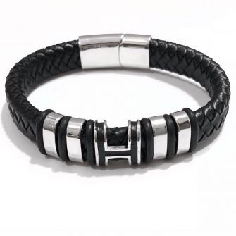Bracelete Masculino De Couro Com Detalhe Em H