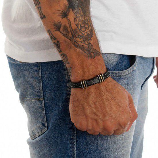 Bracelete Pai Nosso De Aço E Silicone