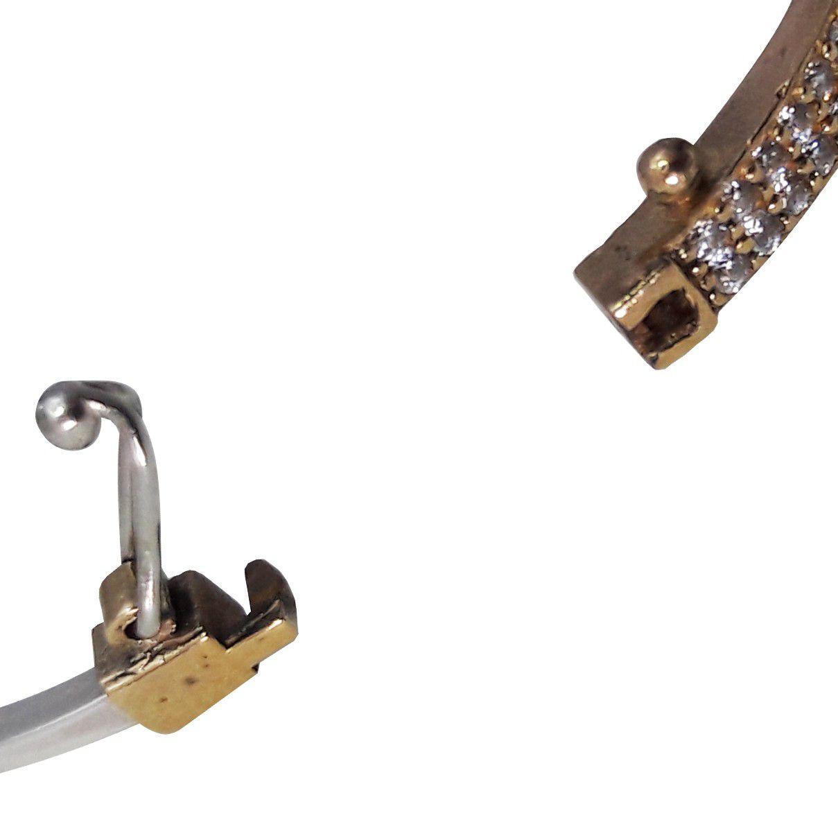 Bracelete Prata Turca 925 Cravejado Com Zircônias Brancas e Jade