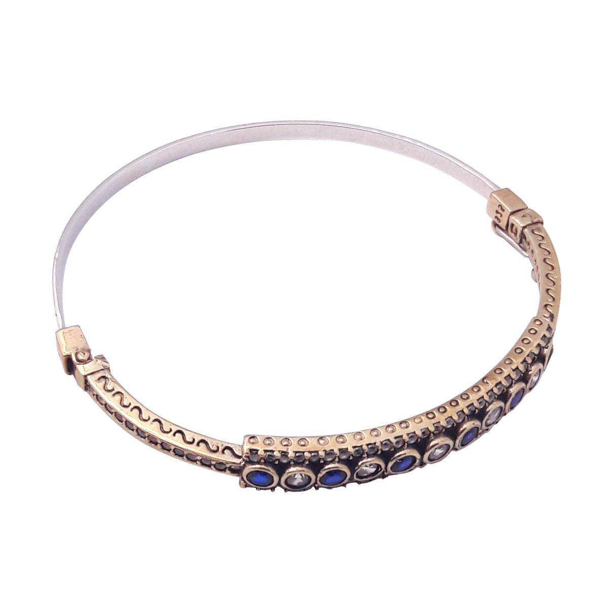 Bracelete Prata Turca 925 Cravejado com Zircônias Cristal e Cor Safira