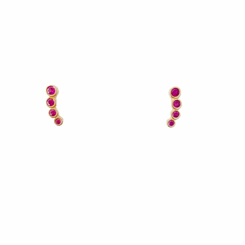 Brinco Bolinhas Zircônia Rosa Banho em Ouro 18K