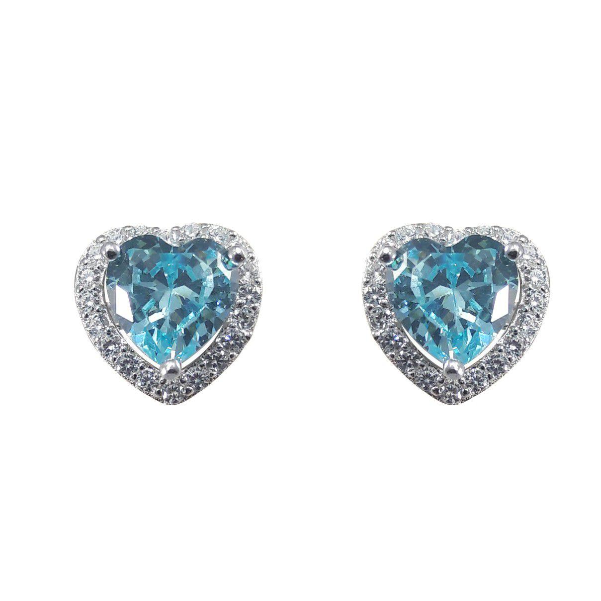 Brinco Coração Zircônia Azul Tiffany em Prata 925 Com Borda Cravejada com  Zircônias Brancas