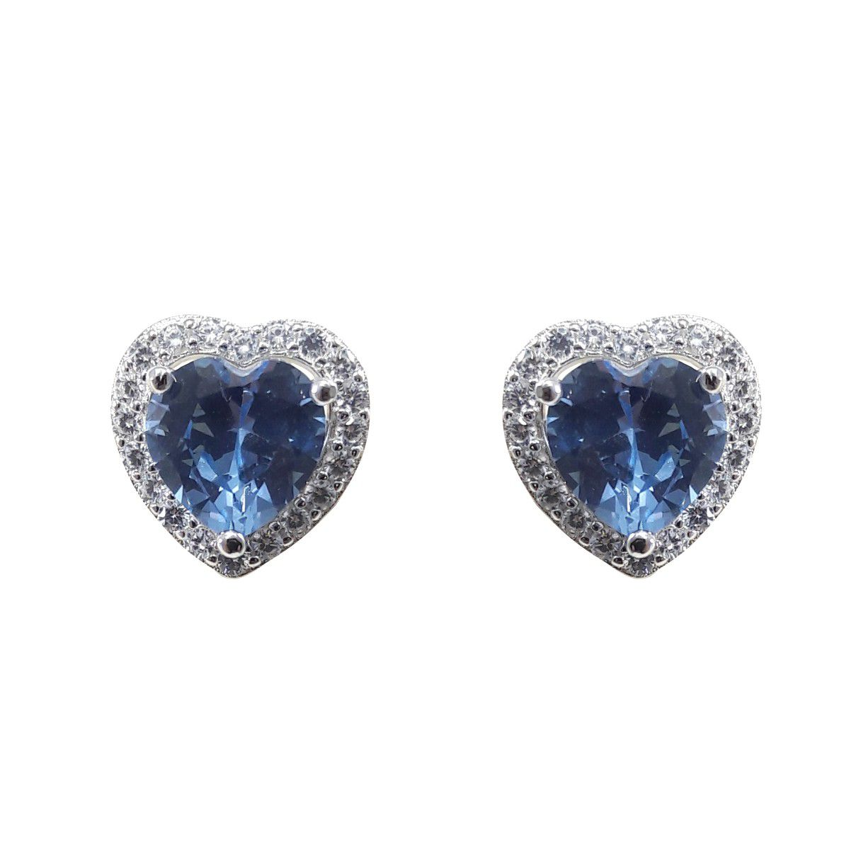 Brinco Coração Zircônia Azul em Prata 925 Com Borda Cravejada com Zircônias Brancas