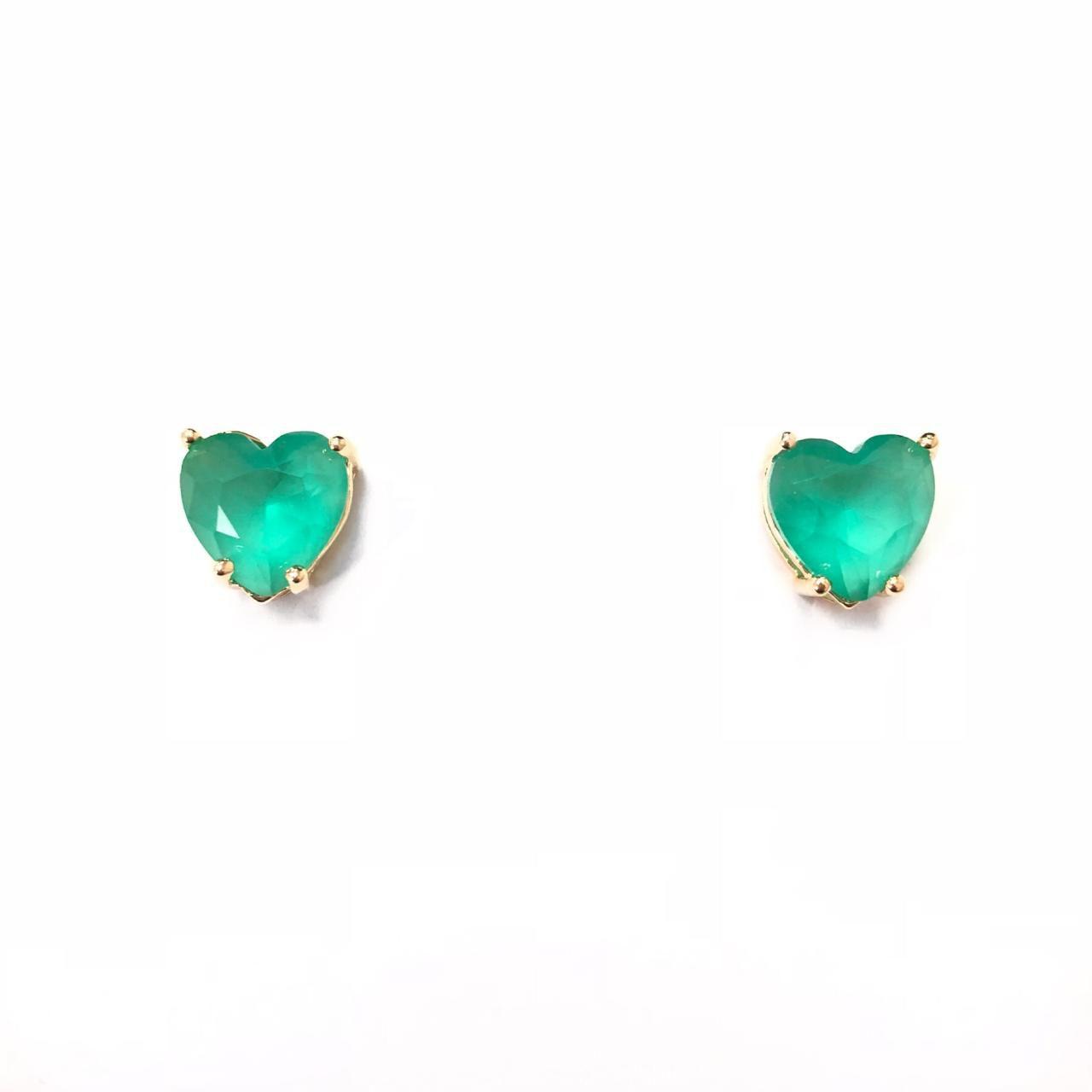Brinco Coração Verde Banho em Ouro 18k