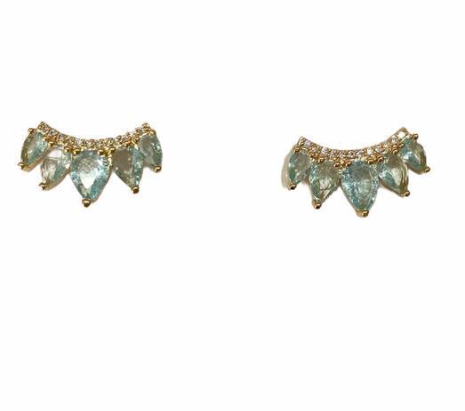 Brinco Ear Cuff Azul Detalhe Cravejado Zircônias Branca Banho em Ouro 18k