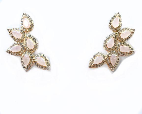 Brinco Ear Cuff Gota Zircônias Rosas e Brancas Banho Em Ouro 18K