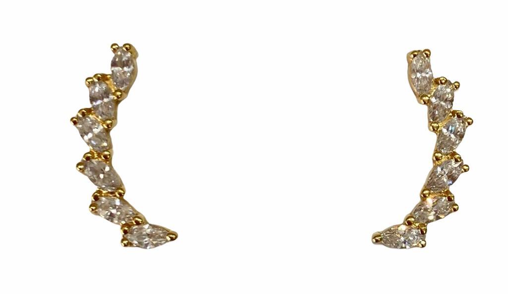 Brinco Ear Cuff  Zircônias Brancas  Banho Em Ouro 18K