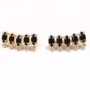 Brinco Ear Cuff Zirconias Navetes Preta E Detalhe Zirconia Branca  Banho Em Ouro
