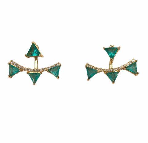 Brinco Ear Jacket Zircônia Verde e Branca Banho em Ouro 18k