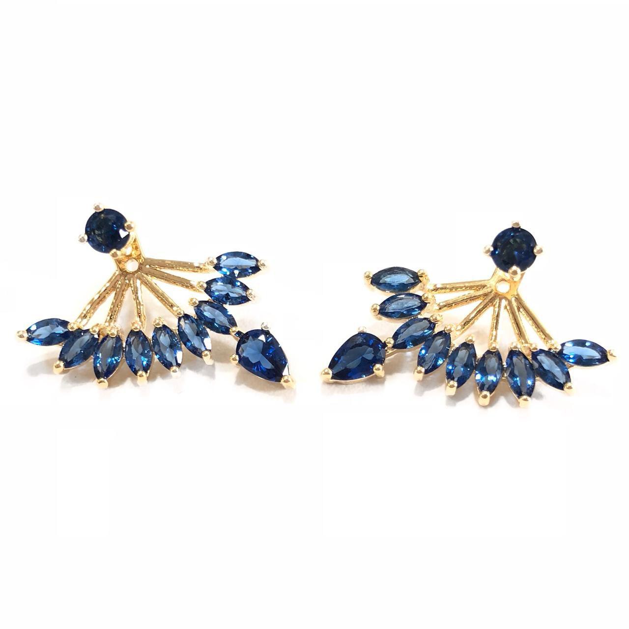 Brinco Ear Jacket Zircônias Navetes Azul Banho Em Ouro 18K