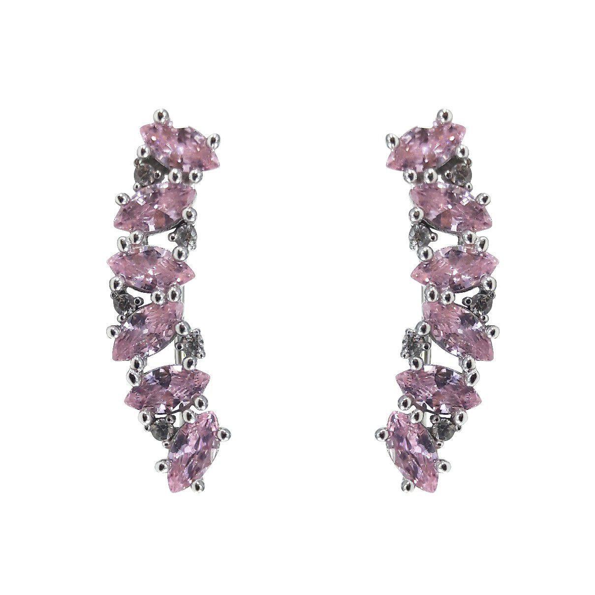 Brinco Earcuff em Prata 925 Navetes Rosa Detalhes Cravejado com Zircônias Branca
